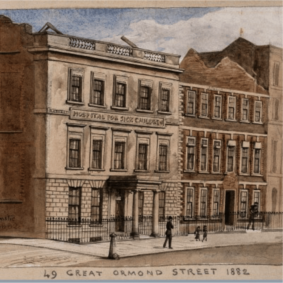 Watercolour of 49 Great Ormond Street